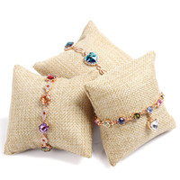 Wholesale Velvet Watch Holder Pillows - Jute Pillow Display Vintage Bracelet Bangle Watch Jewelry Stand Flax Holder