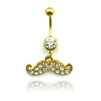Wholesale Fashion Jewelry Beards - Fashion Belly Button Rings Gold Plated Stainless Steel Dangle White Rhinestones Beard Navel Rings Piercing Jewelry