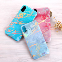 Wholesale Rainbow Silicone Case - New For iPhone X 8 Rainbow Marble Soft TPU Back Colorful Gel Cover Phone Case For Apple iPhone 7 5 6S plus