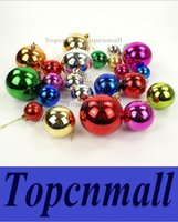 Wholesale Large Christmas Ball Ornaments - 180pcs lot 6cm Large shiny Multi Color christmas Bell balls plastic tree Hanging item ornaments decorations Seasonal Deco