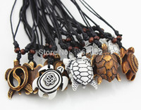 Wholesale Carved Bone Pendants Necklaces - For Christmas Gifts Fashion Jewelry Imitation Yak Bone Carving Lucky Surfing Turtles Pendant Adjustable Cord Necklace