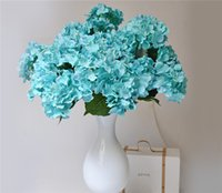 Wholesale Large Silk Flowers Yellow - Silk Hydrangea (7 heads piece) 50cm 19.68 inches Artificial Teal Blue color Continental Large Hydrangea for Home Showcase Party Decor