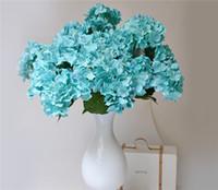 knickentenblaue farbe großhandel-Silk Hydrangea (7 Köpfe / Stück) 50cm / 19.68 Zoll Künstliche blaugrüne blaue Farbe Continental Large Hydrangea für Home Showcase Party Decor