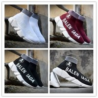 Wholesale Vogue Knitting Men - 2017 LIMITED EDITION Original Material Italy Balen Speed Running Shoes For Men&Women Black White VOGUE AJCYYH Stretch-knit Mid Summer Sneake