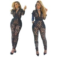 82a7b3578f53 2015 Promotion White Red Black Lady Sexy Full Lace Jumpsuit Deep V Neck  Long Sleeve Bodycon Mesh Bodysuit Women Fashion Clubwear