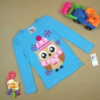 Wholesale Owl T Shirt Kids - Spring autimn fashion kids long sleeve T shirt top lovely girl boy owl pattern T-shirt 100% cotton Tees t-shirt