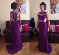 Wholesale Pagaent Dresses - 2015 Purple Sheer Neck Prom Dresses With Applique Lace Sweep train Mermaid Party Evening Dress Pagaent Gowns Vestidos De Fiesta