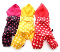 Wholesale Raincoat Dog Red - Free shipping!Pink Red Yellow Polka dot dog jumpuit dog raincoats pet clothes,4 sizes available