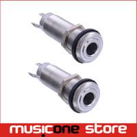 "Wholesale Socket Thread - 2pcs lot Chrome Threaded Cylinder output Input Guitar Bass Jack Plug Socket 1 4"" 6.35mm Pickup Output Jack MU0590"