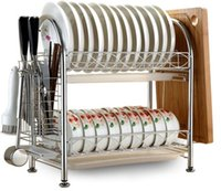Wholesale Dish Rack Layers - Hot selling 2 layer dishes rack Stainless steel Modern kitchen storage