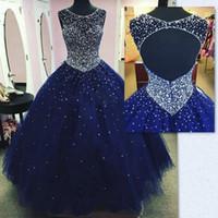 vestido brilhante vintage venda por atacado-Modest Sparkly Dark Blue Prom Vestido Quinceanera Vestidos Masquerade 2019 Sheer Neck Open Back Bling Cristal Pageant Vestidos Para Doce 16