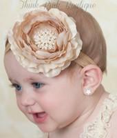Wholesale Layered Satin Flower Headbands - 12pcs  Lot Satin Flower Matching Sparking Rhinestone Pearl Headband Layered Flower Headband Couture Headband Children Headwear