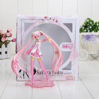 figuras de brinquedo miku venda por atacado-16 cm Anime Sakura Rosa Hatsune Miku PVC Action Figure Modelo Brinquedos com caixa