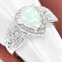 Wholesale russia silver - 5 Pcs 1 lot Friend Gift Antique Drop White Fire Opal Gems 925 Sterling Silver Ring Russia American Australia Weddings Ring Jewelry Gift