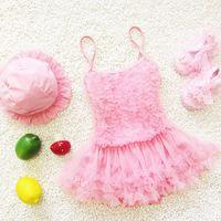 Wholesale Cute Pink Swim - 2016 Fashion Cute Princess Baby Swimwear Swimsuits Lace tutu Girl Swimming Suits 2pcs sets With Swim Caps Pink Blue Purple Beachwear A5150