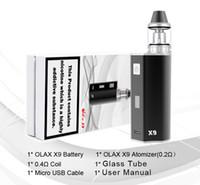 Wholesale X9 Variable Voltage Kit - 2017 New Arrival OLAX X9 kit Ecig Vape Cigar Mod 80W Variable Voltage 18500 battery 1500mah Factory Wholesale free shipping DHL