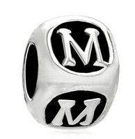 Wholesale dices number for sale - Group buy Hand enamel dice shape Letter bead charm K T alphabet European spacer charms bracelet DIY fit Pandora bracelet