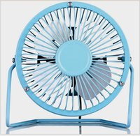 Wholesale Smallest Electric Fans - T 4-inch USB fan computer cooling fan mute Iron aluminum leaf USB small fan Free Shipping