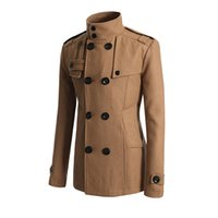 Wholesale Double Breasted Coat Camel - Fall-Formal Male Men's Double Breasted Peacoat Men Black Navy Camel Grey Overcoat Outerwear Long Sleeve Winter Long Wool Coat #82487