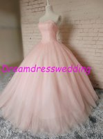Wholesale Real Shot Dresses Straps Quinceanera Dresses Rhinestone Sweethert Ball Gown Birthday Party Real Image Prom Bride Pink Sweet gown