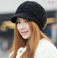 boinas de piel de mujer al por mayor-Mujeres Invierno Cálido Sombrero de punto Piel de Rabit Nieve Esquí Gorras con visera Boinas