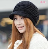 меховые береты оптовых-Женская зимняя теплая вязаная шапка Rabit Fur Снег Лыжные кепки с козырьком Береты