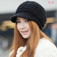 Wholesale Black Berets Wool - Women Winter Warm Knit Hat Rabit Fur Snow Ski Brim Caps With Visor Berets