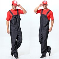 Wholesale Super Mario Overalls - 2016 Freeshipping Super Mario Brothers M Delivery Courier Overalls Masquerade halloween costume kit For Men Fancy Dress Ball