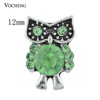 Wholesale Cute Buttons Wholesale - Vocheng Noosa Interchangeable Jewelry Accessory Small 12mm Cute Owl Crystal Buttons Ginger Snap Jewelry (Vn-428)