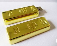 Wholesale 64gb Gold Bar Usb Drive - 2015 Gold bar 16GB 32GB 64GB USB Flash Drive in metal PenDrive thumb drive Pendrive for tablet for diginal camera for smartphones