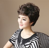 Wholesale Elderly Wigs - Elderly Mother's Fashion Wavy Head Wigs for Novelty Birthday Gift,12'' Pixie Cut Short Curly Fluffy Bobo Style Women's Cheap Synthetic Hair