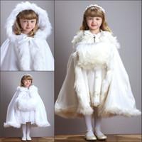 Wholesale Ivory Fur Shawl Girl - White Ivory Fur Hooded Flower Girls Dresses Winter Warm Cloaks Cape Cap 2016 Christmas Girls Fur Shawl Wrap Jacket Boleros Wedding Dresses