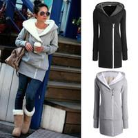 kadın kış moda ceketi toptan satış-Sıcak Satış moda Bayan sonbahar kış Uzun Zip Tops Hoodie Ceket Ceket Giyim kadın ceket Bırak nakliye GWF-684820