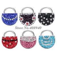 """Wholesale Ginger Bag - Snap Jewelry 5PCS """"Bag"""" Shaped Ginger snap button Fit Snap Button Bracelet and Button Pendant Rhinestone DelicateLSSN09*5"""