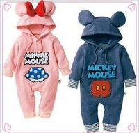 Wholesale Minnie Mouse Rompers - Retail Spring Boys Girls Baby Mickey Minnie Mouse One-Piece & Romper children long sleeve Rompers Girl boy hooded hoodies kids clothes
