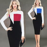 Wholesale Cotton Dresses Stitching Models - dresses woman fashion hot women dresses DH explosion models in Europe and America Winter Slim hit color stitching round neck