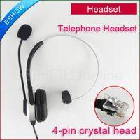 Wholesale Crystal Telephones Wholesale - Wholesale-5pcs 4-pin RJ11 crystal head super Telephone Monaural Headset MIC PHONE Prevent noise C085 Eshow
