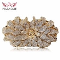 NATASSIE New Luxury Flower Crystal Clutch Evening Bag Mulheres Wedding Party Purses Irmãs Champagne Ouro e Cor Roxo