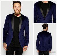 Wholesale Corduroy Tuxedo Suit - Navy Blue Velvet Slim Fit Groom Tuxedos Shawl Lapel Wedding Suits Custom Made Groomsmen Suit Prom Mens Suits with Black Pants (Jacket+Pants)