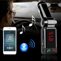transmisores usados al por mayor-Equipo inalámbrico para uso de vehículos Reproductor de audio MP3 / Bluetooth Transmisor / Modulador de FM Kits de manos libres para automóvil, con pantalla LCD y cargador USB