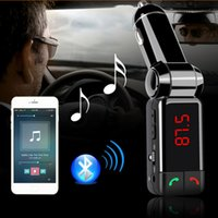Wholesale Bluetooth Display Car Kit - Wireless Vehicle Use MP3 Audio Player Bluetooth FM Transmitter FM Modulator Car Kits Handsfree, with LCD Display and USB Charger