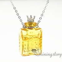 Wholesale Miniature Glass Perfume Bottles - oblong essential oil necklace diffusers perfume pendant diffuser essential oils jewelry miniature glass bottles aromatherapy inhaler