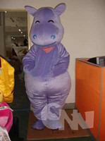 Wholesale Smiling Mascot - Purple Hippo Mascot Costume Walking Smile Cartoon Doll Costume Adult Hippo Costume