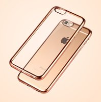 Wholesale Iphone Tpu Gel Bumper - For iPhone7 7 6 6S plus 5 Ultra Thin Chrome Bumper Transparent Clear Electroplating Plating Soft TPU Gel Cases Cover iphone 7