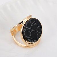 Wholesale Dhl Shipping Gold Coins - DHL Free Shipping Wholesale Double Layer 18k Gold Brand Designer Black White Textured Round Coin Marble Stone Rings For Women Party
