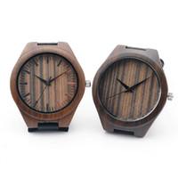 Wholesale Oem Ebony - 100% Ebony Wooden Watch Wood Casual Quartz Luxury Watches Natural Wood Wristwatches Leather Straps retail gifts box Accept Customization OEM