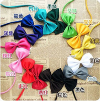 Wholesale Cute Bow Ties Girls - Children Pure Color Bow Ties 2015 New Kids Fashion Bow Ties Boy Girl Cute Hot Sale Bow Ties Children Candy color Bow Tie B001