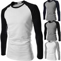 Wholesale Unique Designs Mens Shirts - Unique Design Mens T Shirts Spring Autumn Long Sleeve T Shirts Designer Mens Casual T-shirt N9