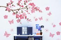 decoração de casamento pêssego venda por atacado-Frete Grátis Removível PVC Modern Peach flor Borboleta Home Decor Art Quarto de Casamento Meninas Quarto Adesivos de Parede Decalque Poster TY505