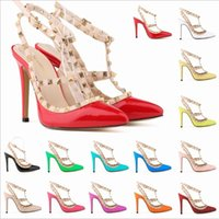 Wholesale Wedding Shoes Ivory Pearls - Fashion rivets shoes high-heeled pointed toe hasp thin heels sandals rivet pointed toe shoes female sandals 14 colors available